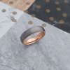 T7 Brushed 6mm wide Tungsten Ring with Rose Gold Plating Inside by La Mae Jewellery