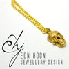 Brass Skull Necklace on Chain by Eon Hoon Jewellery Design