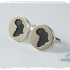 Brass and silver Africa wood inlay cufflinks by Natasha Wood Jewellery