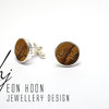 Sterling Silver & Olive wood cufflinks with engraved initials by Eon Hoon Jewellery Design