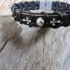 Cross and Stud 925 Silver and Leather bracelet by Zefzulu