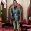 YB56: Silver / gold / black brocade one-lapel slim-fit jacket with matching pants. by Yihan Brönn Couture