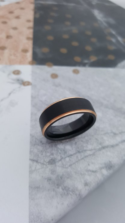 T9 Black Tungsten Ring with Rose Gold Plating by La Mae Jewellery