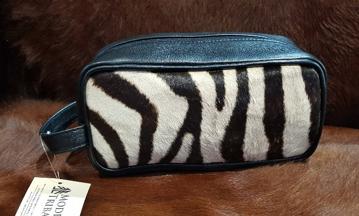 Zebra skin and leather toiletry bag by Modern & Tribal Designs
