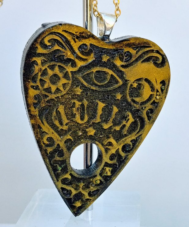 Black with gold ouija Planchette resin pendant by Honeydog Designs