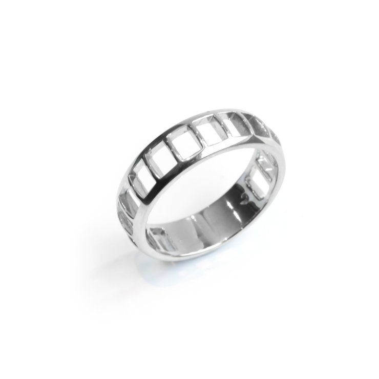 Strut Ring - Palladium Plated Sterling Silver by WHYJewellery