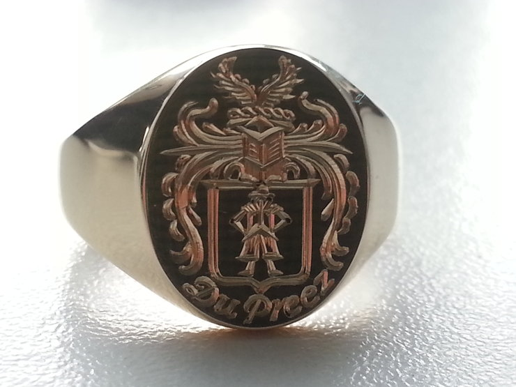 "The ""du Preez"" Family crest signet ring in hallmarked 9ct gold also available with your crest by www.hallmarkinternational.co.za"