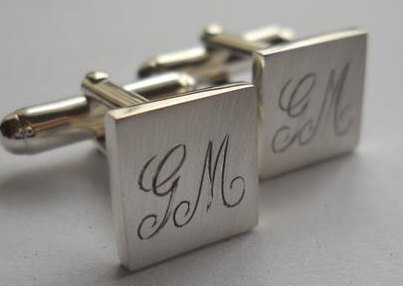 sterling silver initial engraved cufflinks by thula