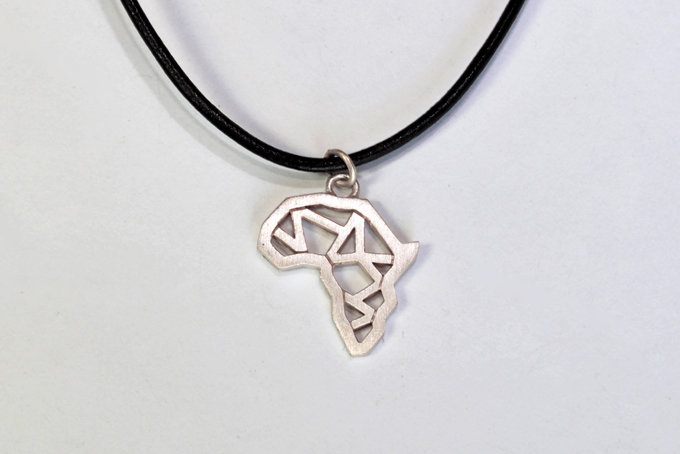 Africa Polygon Pendant on leather thong in Sterling Silver by Duke & Dutch