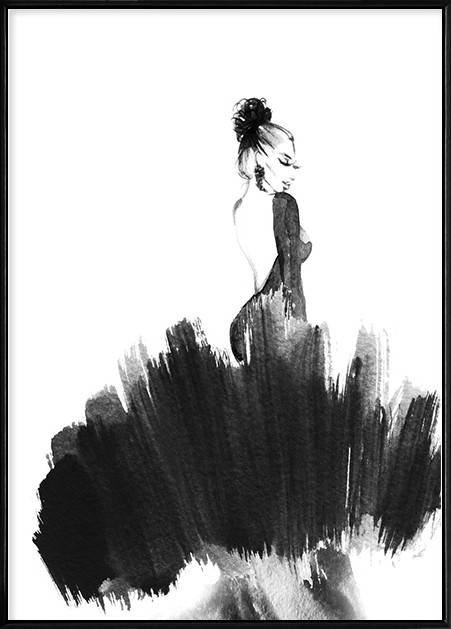 Bolou Framed Nordic Canvas Print Ready To Hang - My Lady in Black (426X600mm) by Boluo