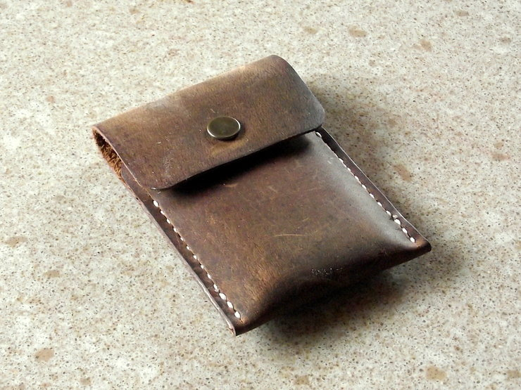 Business Card Wallet in Crazy Horse Leather by Vincent Leather