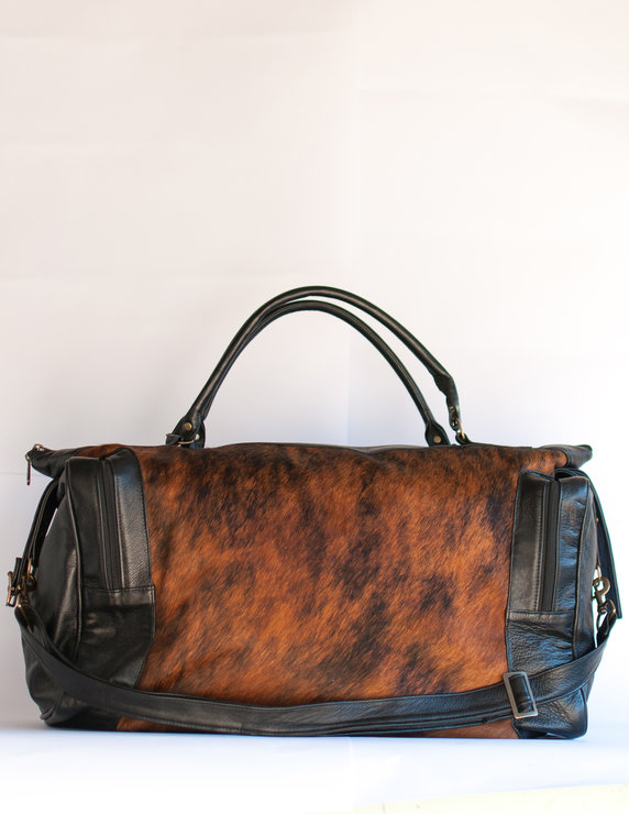 Balule Leather and Nguni Skin Duffel Bag  by Modern & Tribal Designs
