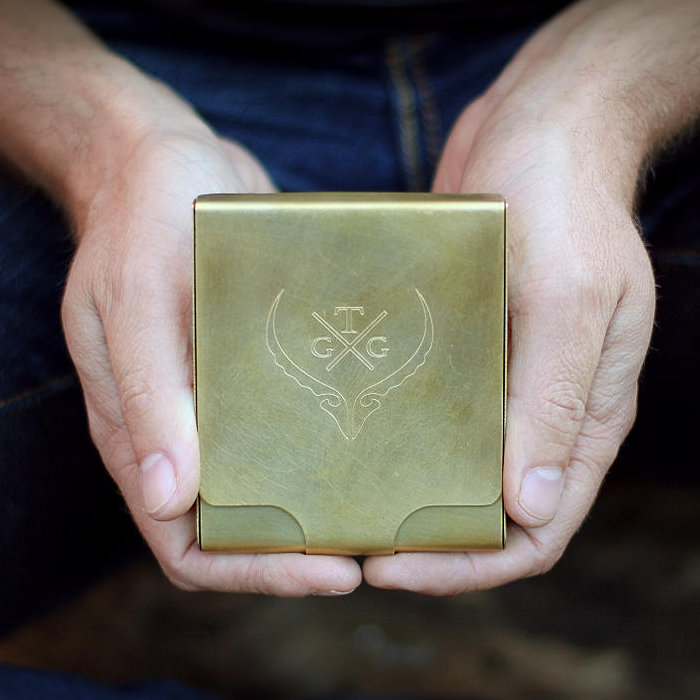 Brass Wallet with engraving by Trekker Grooming and Gear