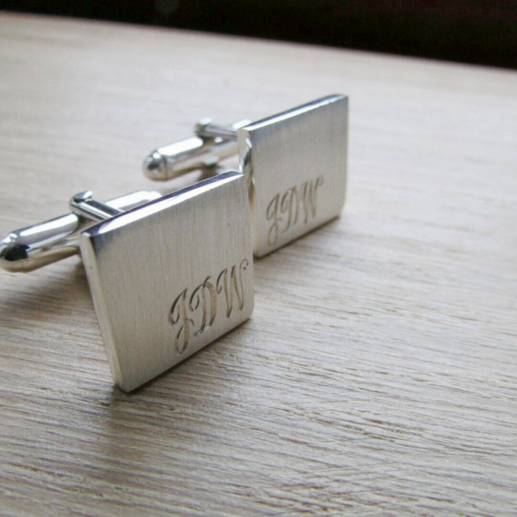 square cufflink with initial engraving by thula