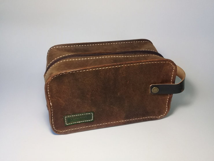 Large Dopp Kit in Crazy Horse Leather by Vincent Leather f27516e1c737a