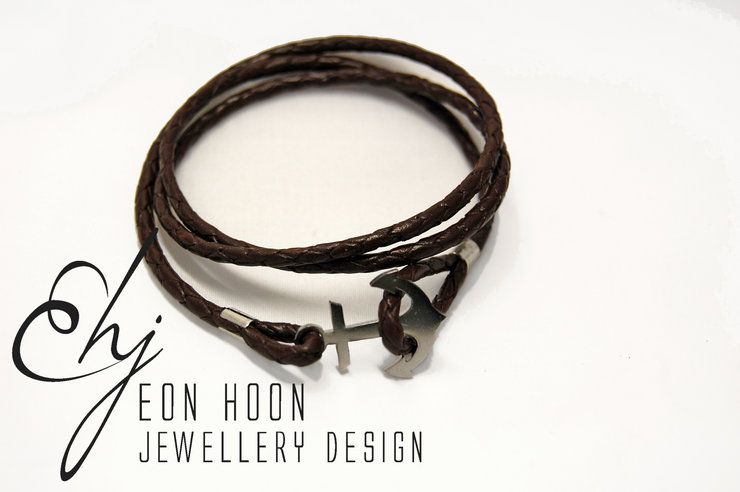 Brown Leather Anchor Bracelet by Eon Hoon Jewellery Design