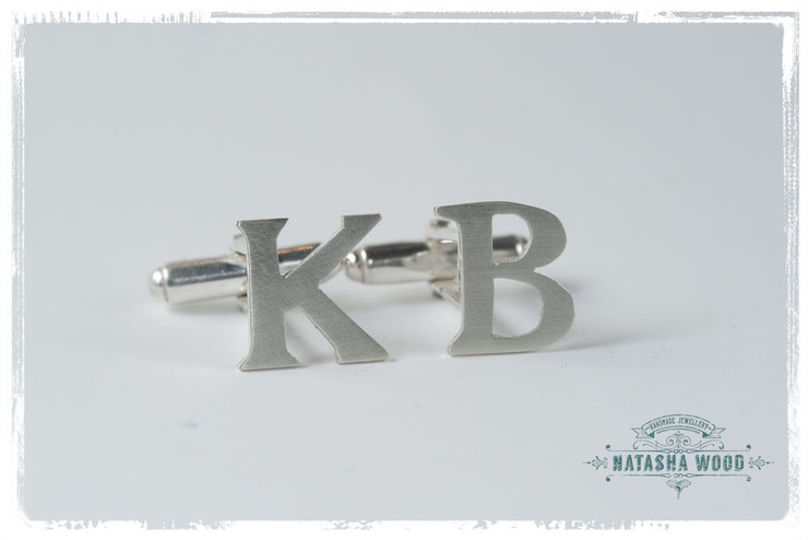 Initial cut out Silver cufflinks by Natasha Wood Jewellery