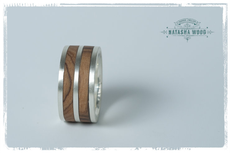 Double Layer Olive Wood Mans Ring Hello Man