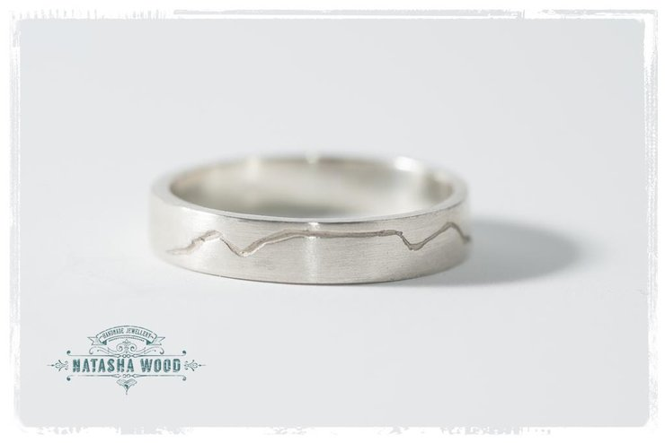 Table mountain engraved silver Ring by Natasha Wood Jewellery