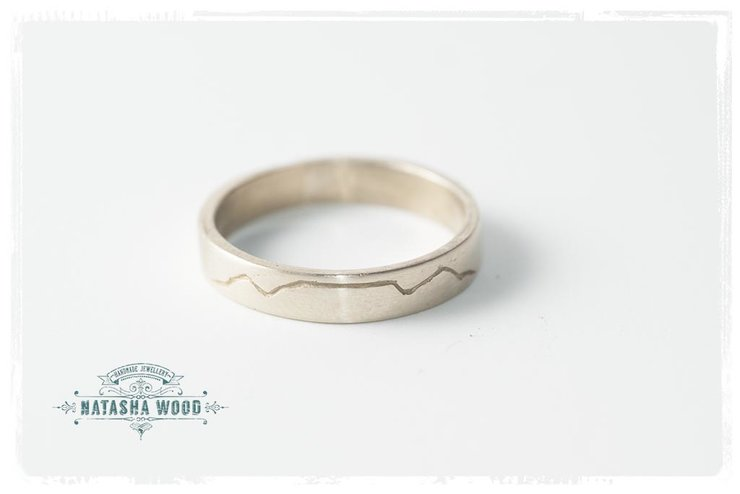 Brass table mountain engraved Ring by Natasha Wood Jewellery