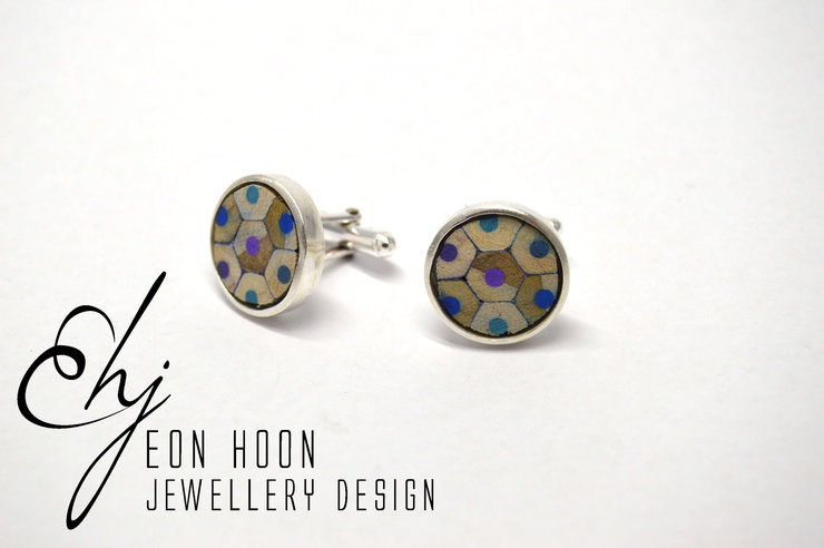 Blue Pencil Cufflinks by Eon Hoon Jewellery Design