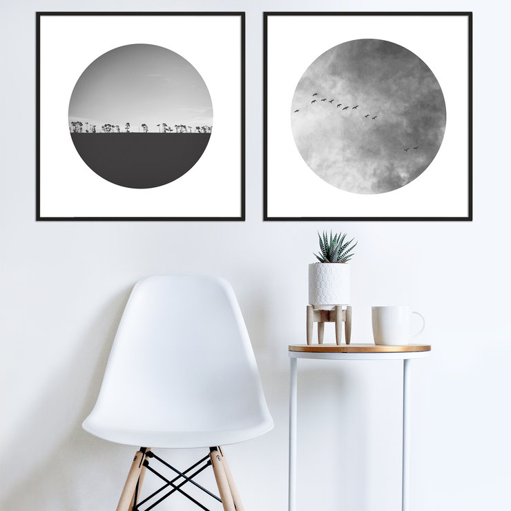 Heart In The Sky Photography Print Set | 40x40cm | Collection 1 | Wall Art Home Decor | Monochrome | Black and White | Modern | Clouds | Sunset | Trees | Nature | Birds Flying by Sonny Mo Arts