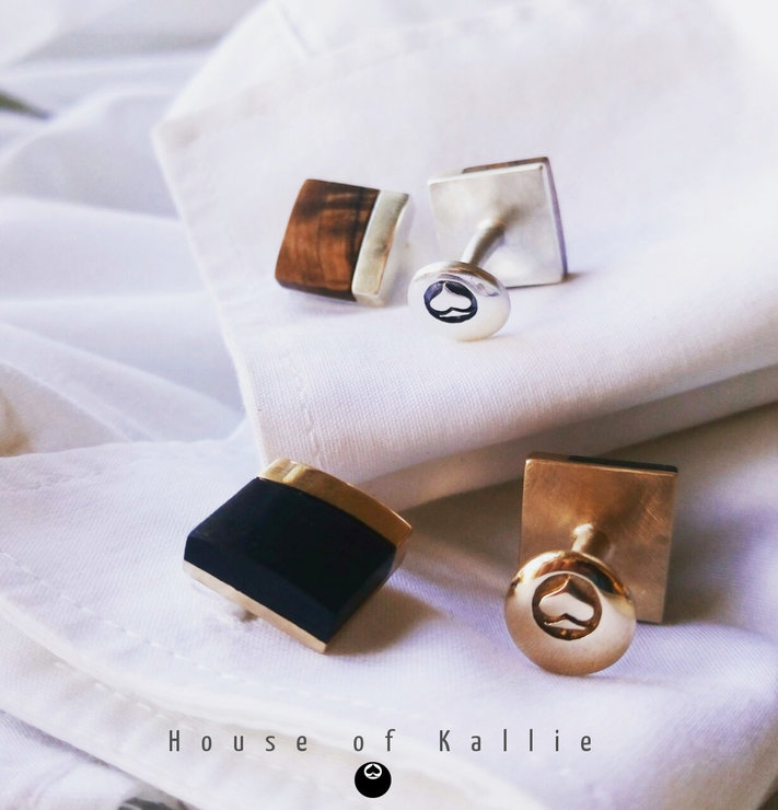 Wooden Cufflinks - Blackwood or Olive by House of Kallie