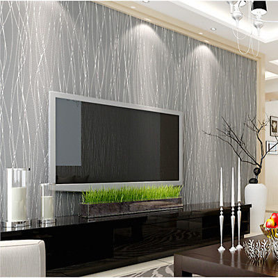 Luxury Flocking Non-woven Textured Lines Wallpaper Roll Living Room Home Decor by The Wallpaper Company