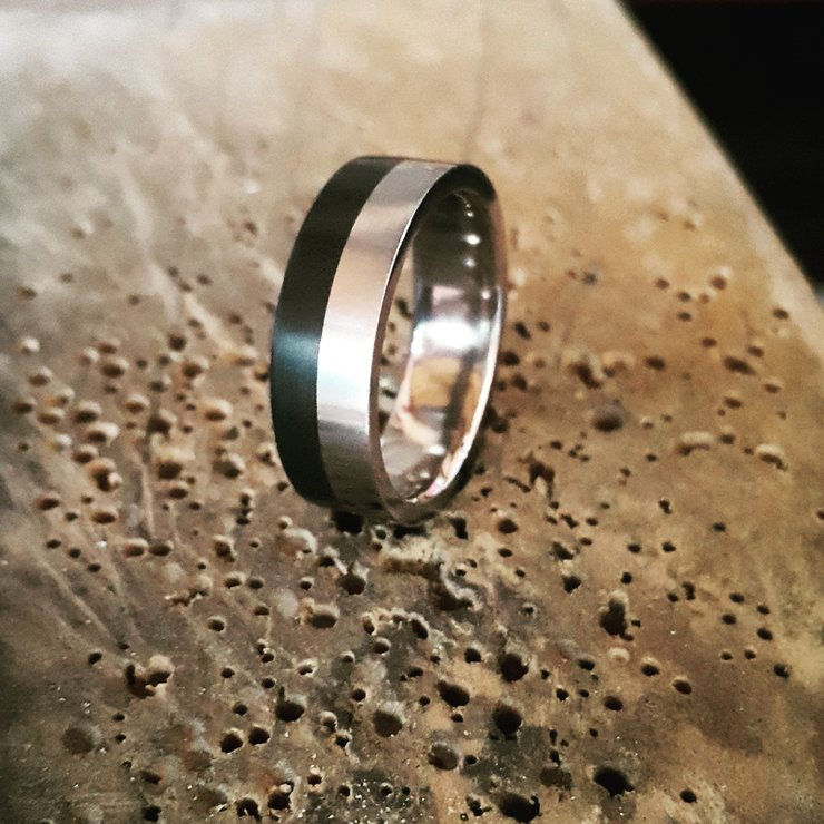 Titanium half Ertalyte inlay ring by Rings & Things