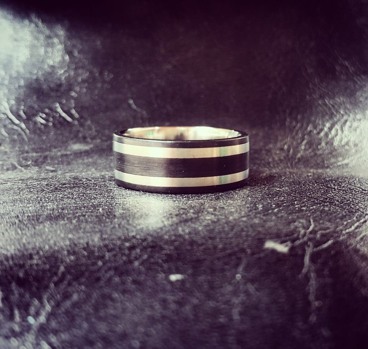 Titanium Ertalyte inlay ring by Rings & Things