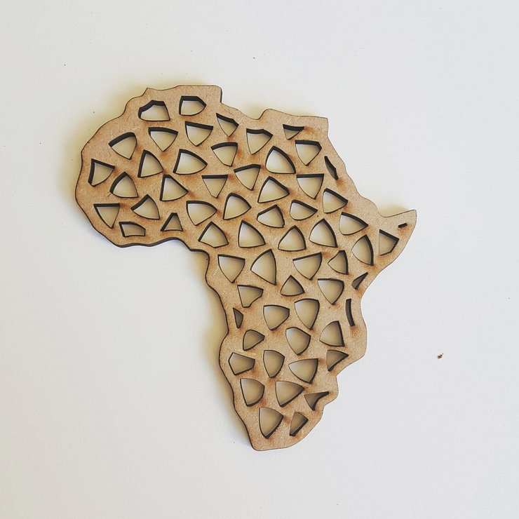 Africa Cutout Detail MDF Coasters - Continent by HALLO JANE