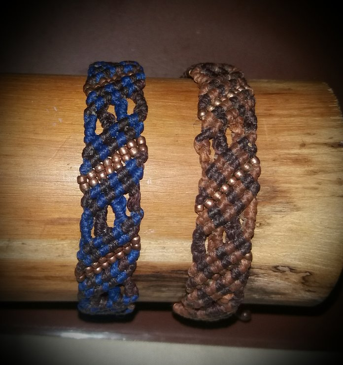 Blue and Brown Bracelets, Macrame and Brass beads by Foreva Faerie
