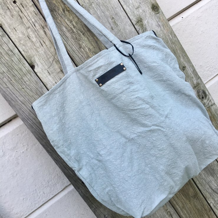 Extra large sage green hemp tote bag with black leather accents and striped cotton lining by SAVVAR