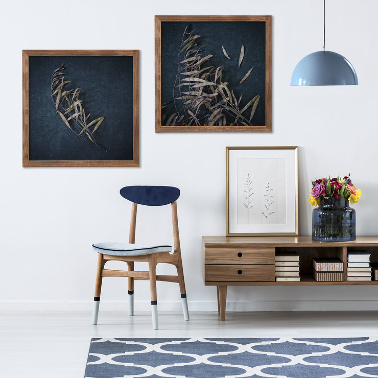 Moody Leaves Print Set | Collection 4 | 60x60cm | Wall Art Home Decor | Leaves | Foliage | Botanicals | Navy Blue | Nature | Wood | Neutral by Sonny Mo Arts