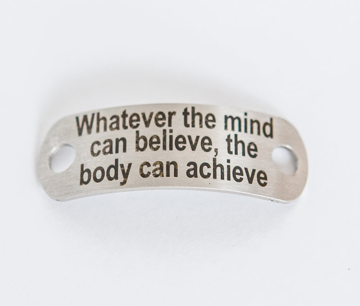 Motivational Shoelace Tag - Whatever the mind can believe, the body can achieve by SA Medal Hangers - Premier Medal Hanger designers