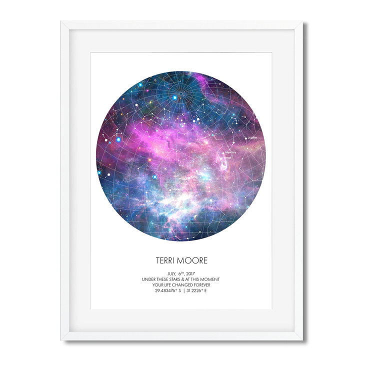 UNIQUE GIFTS | PERSONALISED STAR MAP - UNDER THESE STARS by Georgie and Moon