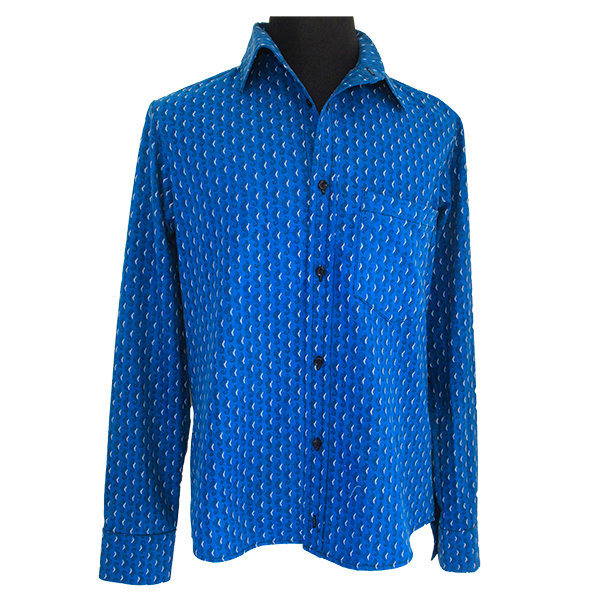 Turquoise Shweshwe Shirt by Carte-Blanche Design