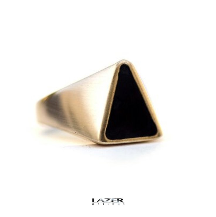 Black Brass Signet ring by Lazer Options