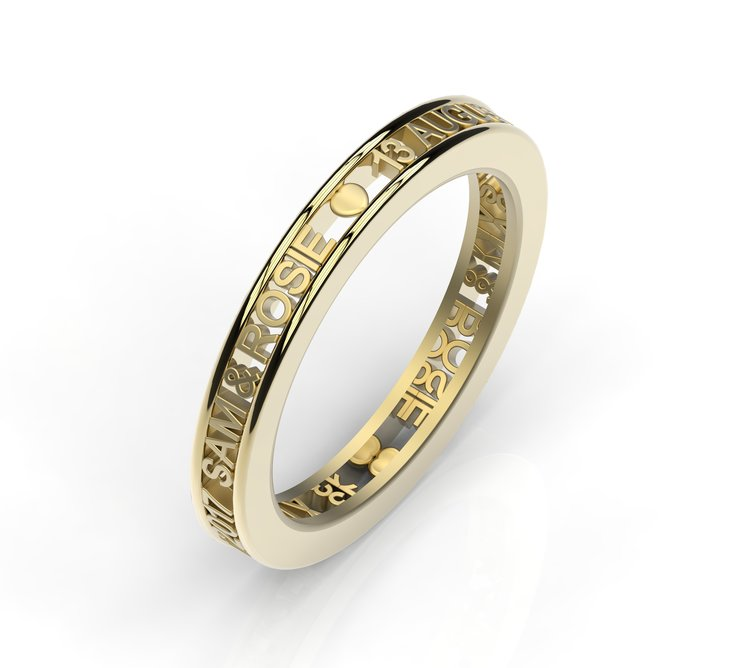 Personalised message ring by Goldsmiths Knysna