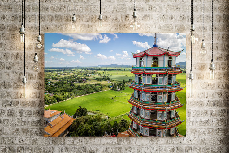 Temple Tower over Farmlands on Canvas by Vermeulen Photography