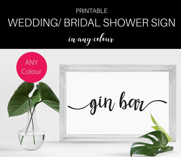 Bridal shower table decor Gin bar sign Bachelorette and Gin sign ...
