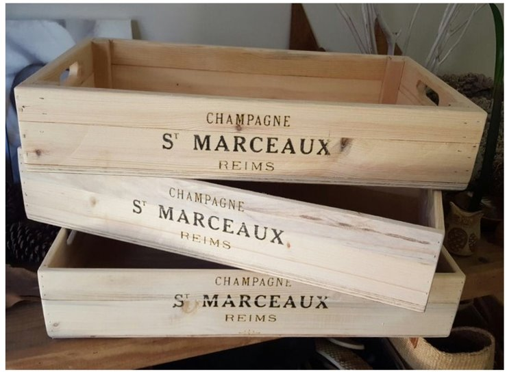 Wooden Box trays - champagne print by Valley Wood