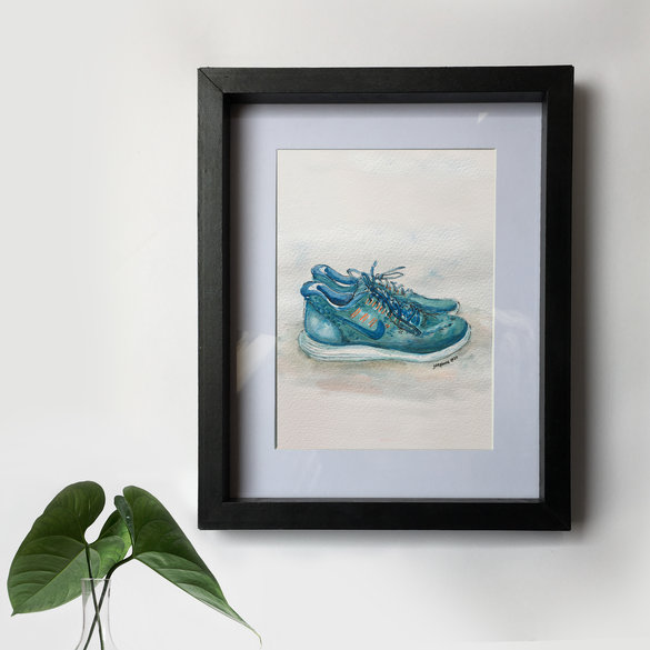 Personalised sporting achievement commission (running) (unframed A4 original artwork - with free digital download file)